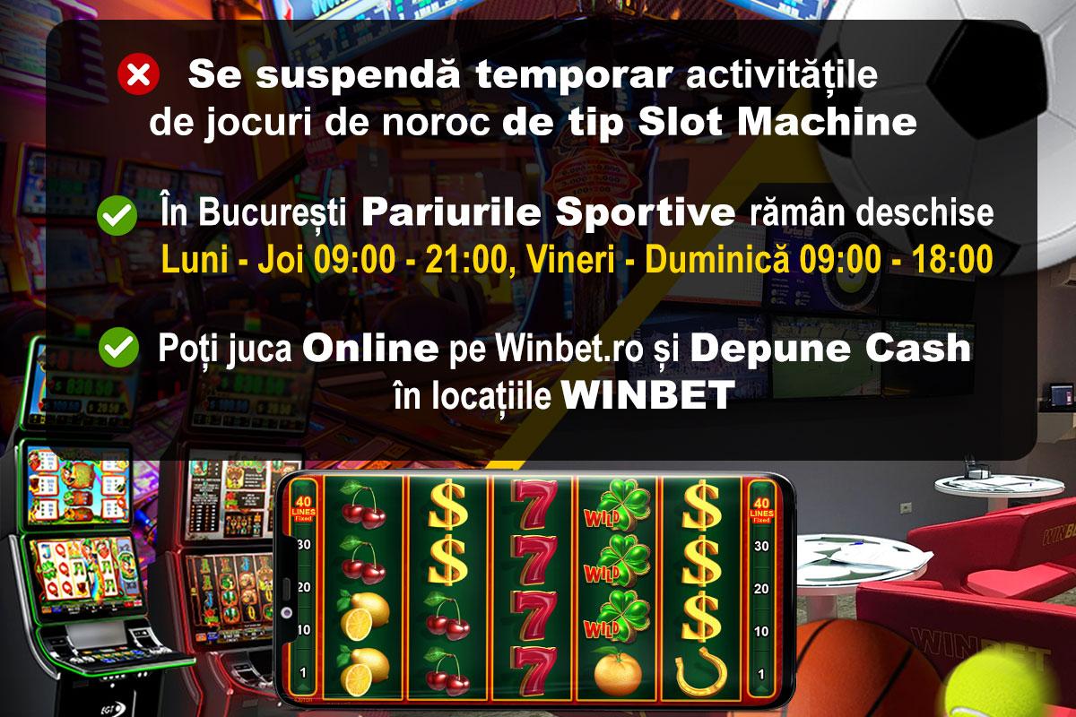 Activitatea de tip slot machine suspendata temporar